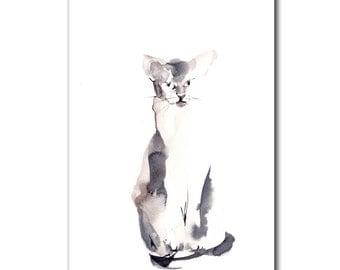 Original Minimalist Painting of Cat, Watercolour Cat Art