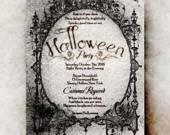 Halloween Invitation - Halloween invitation printable, Halloween invitation, black Halloween invitation, gothic Halloween invitation
