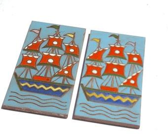 Ceramic Tile Decal, Ceramic Decor, Wall Tile, Wall Decal, Boat Wall Decor, Wall Sticker Tile, Ceramic Tile Wall Decal, Cottage Ceramic Tile