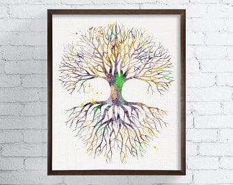Tree Of Life Art, Tree Of Life Painting, Watercolor Tree Of Life, Tree Of Life Poster, Tree Of Life Illustration, Nature, Watercolor Art