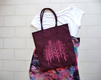 Bordeaux,Hand painted tote,canvas tote bag,shopping tote, colorful tote,crimson  canvas bag tote,shopper bags,pink tree,laptop tote
