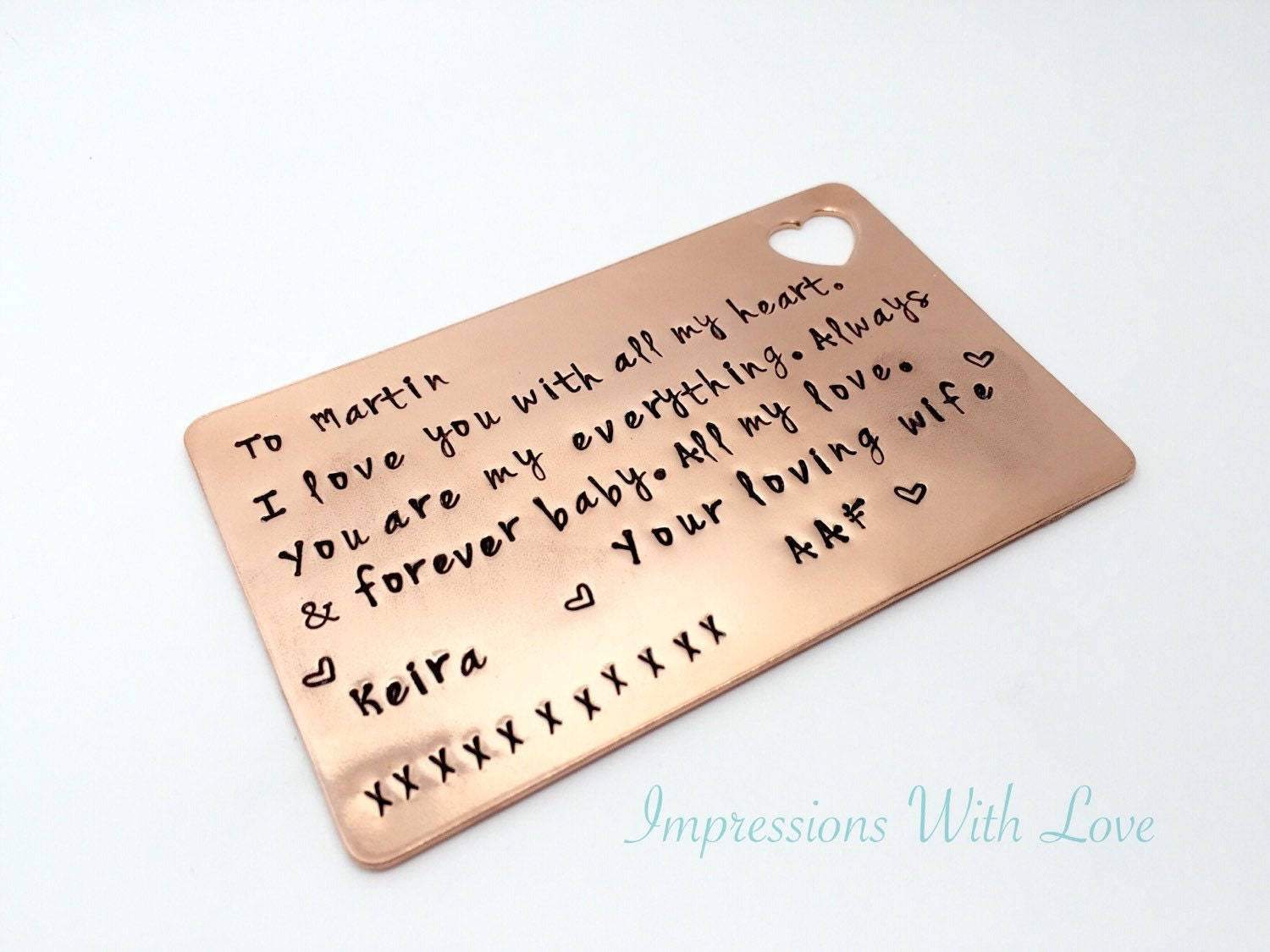 Gifts For 7th Wedding Anniversary: 7th Anniversary Gift Personalised Wallet Insert Card Hand