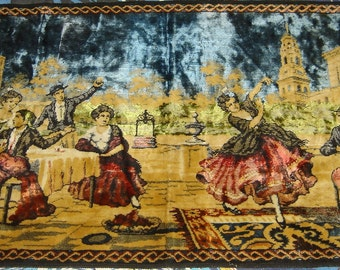 Vintage scene with people playing music and dancing Tapestry Wall hanging home decoration Made in Italy