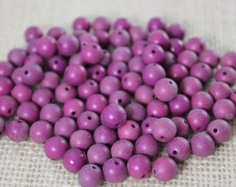 Vintage 7mm Plum Acrylic Round Beads (25 Pieces)