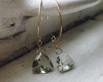 Prasiolite - Green  Amethyst -  Faceted Tear Drop - Wire Wrapped Earrings with  14K Gold Filled