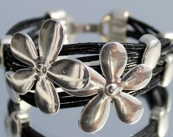 multistrand beaded leather Bracelet, flower, Bohemian, gypsy, woman leather Bracelet