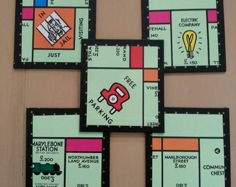 Set of 5x Beautiful Monopoly Coasters, Handmade from an Original Retro Monopoly Game Board!