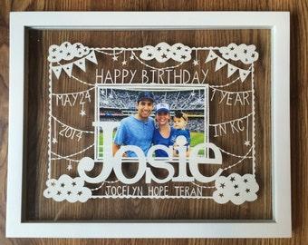 Happy Birthday Papercut gift - Personalized, Custom Handcut Paper Illustration