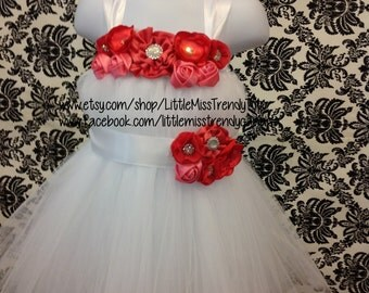 White Flower Girl Tutu Dress with Coral Handmand flowers, White Tutu Dress with Matching Headband, Tutu Dress Set with Headband