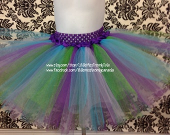 Birthday Tutu, Purple Tutu Skirt, Purple, Lilac, Turquoise and Blue Tutu,  Little Mermaid Tutu, Purple Turquoise Tutu, Couture Tutu