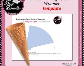 Ice Cream Sugar Cone Wrapper TEMPLATE by Boop Printables