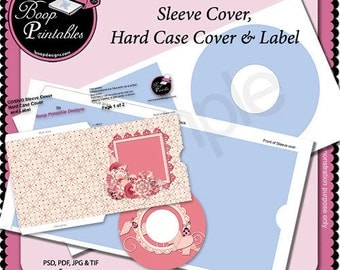 CD - DVD Sleeve and Hard Cover set with Label TEMPLATE by Boop Printables