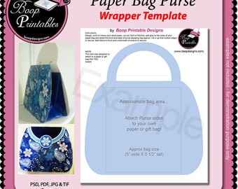 Paper Bag Purse Wrapper - Gift or Party Favor TEMPLATE by Boop Printables
