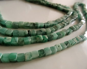 4 to 5 mm Natural Earth Mined Brazilian Emerald smooth rectangle cubes full 7 inch strand ,AA+