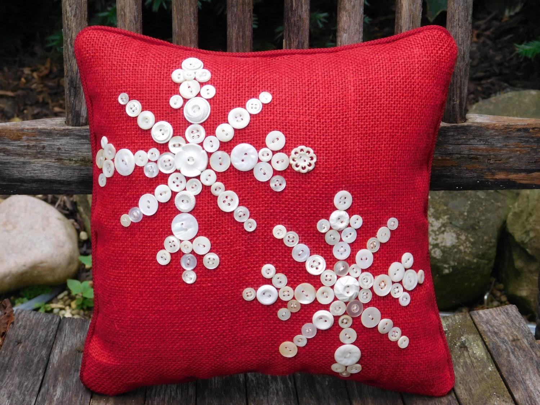 Snowflake Pillow Holiday Decor Red Burlap Pillow Christmas