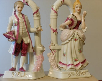 Ten Inch Porcelain Colonial Male & Female Bookends