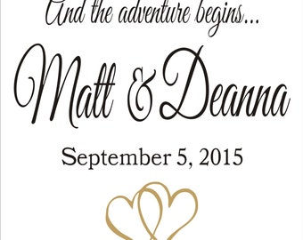 And the Adventure Begins ** CUSTOM Reusable STENCIL **  3 Sizes available 2 Pc. - Create your own Wedding Decor, Aisle Runner