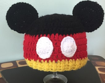 Mickey Mouse Crochet Beanie - All Sizes - Newborn - Baby - Toddler - Child - Teen - Adult