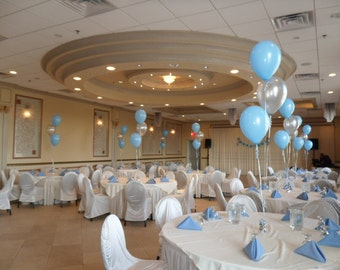 Baptism Christening Balloons Centerpiece Decoration - Set of 3 Latex, 2 in Blue and 1 in Silver