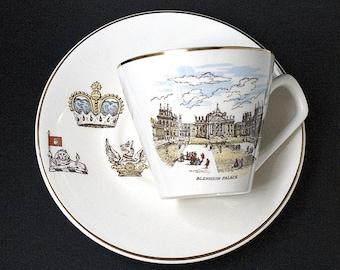 Vintage Blenheim Palace Cup & Saucer, Lord Nelson Pottery England, Circa Sa 1930s - 1940s