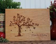 Personalized Cutting Board Love Birds in Tree Wedding Annniverary Hostess Gift Kitchen Art Mom Birthday Gift Walnut Bamboo Boards