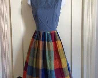 Fabulous 1950's Madras Color Block Cotton Rayon Summer Dress looks size Small 28 inch waist