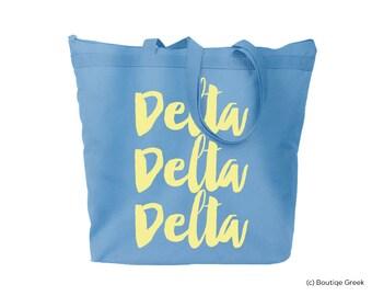 Tri Delta Delta Delta Delta Brush Script Tote