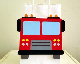 Firetruck Goody Bag, Firetruck Favor Bags, Firetruck Party Bags, Firefighter Birthday Bags