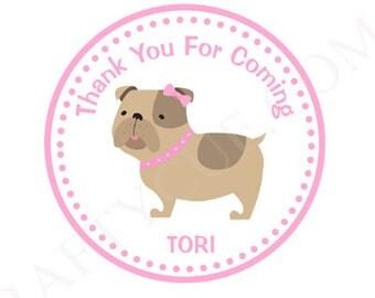 Girl Bulldog Favor Tags, Gift Bag Tags, Party Bag Tags, Bulldog Birthday Party