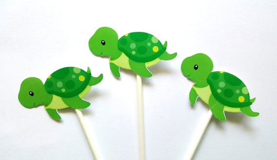 Turtle Cupcake Toppers Turtle Birthday Turtle Baby Shower