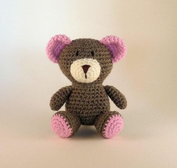 Amigurumi Pink Bear : Crochet Amigurumi Bear Pink Bear Plush Bear Mini Amigurumi