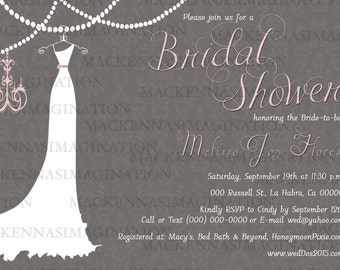 Wedding Dress Bridal Shower Invitation and Thank You-DIGITAL
