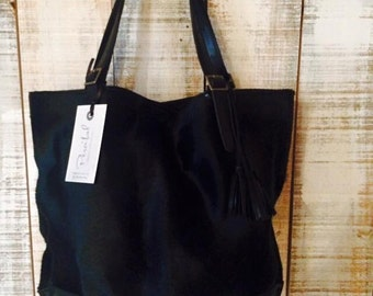 Cowhide leather tote, black leather tote, everyday bag leather, soft leather tote, strong leather bag, genuine leather tote, cowhide bags