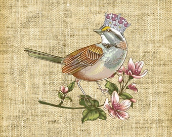 Digital Clipart/Vintage Image/Bird with Crown/Blossoms/Clipart/Collage/Decoupage/Crafts - INSTANT DOWNLOAD