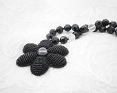 Black beadwork necklace with Swarovski crystal beads