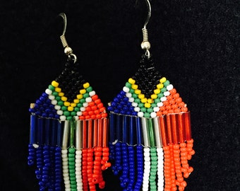 South African Flag Cascade Earrings