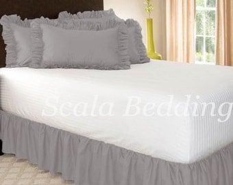 Dust Ruffle Bed Skirt 800 TC 100% Egyptian Cotton Light Grey Select Size