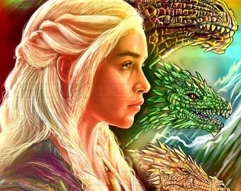 Daenerys Targaryen 11X17 Digital Drawing