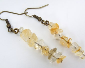 Raw Stone Citrine Chip Earrings
