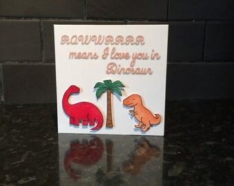 Dinosaur Card, Love You Card, Anniversary Card, Valentines Day Card, I Love You Card