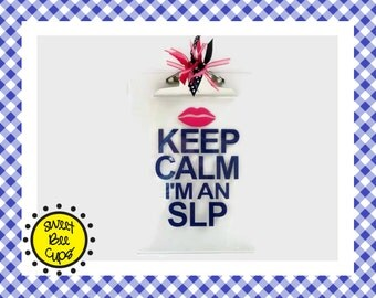 Keep Calm I'm an SLP, Speech Therapist Clipboard, slp Gift, Speech Language Pathologist, Speech Therapist Gift, Acrylic Clipboard