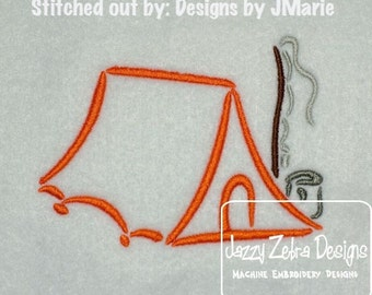 Camping Tent Satin Outline Embroidery Design - camping Embroidery Design - tent Embroidery Design