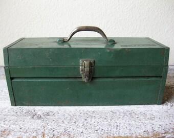 Vintage Green Companion Metal Utility Tool Box ~ Industrial Box ~ Metal Box ~ Industrial Decor
