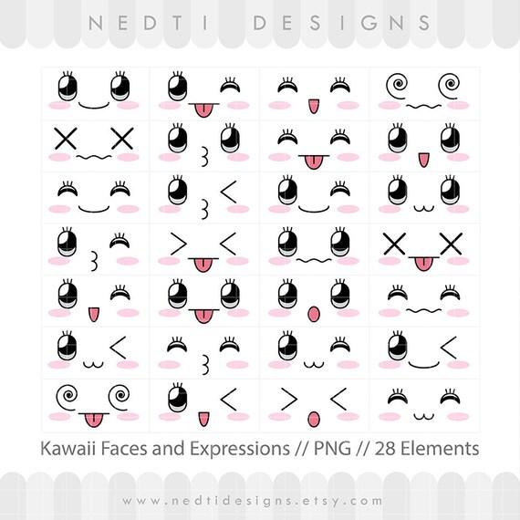 28 kawaii mignon visages clipart visage expressions - Emoticone kawaii ...