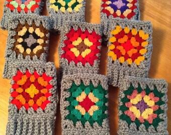 Granny Square on Gray Crochet Fingerless Gloves