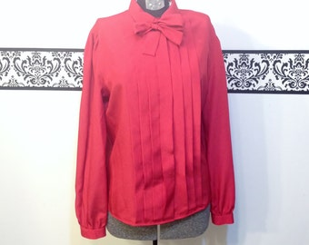 1960's Cherry Red Secretary Blouse with Bow by Jack Winters, Size 9 / 10 Medium, Vintage Pin Up 1960's Hipster Blouse, 60's Hipster Red