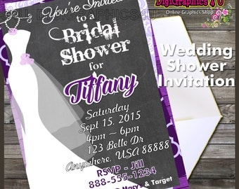 Printable Personalized Chalkboard Themed Bridal Shower Invitation Digital File