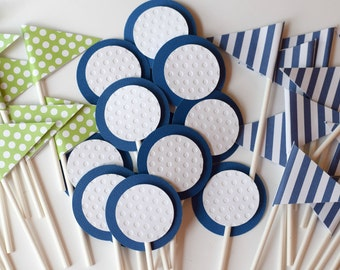 Golf Cupcake Toppers, flag cupcake toppers, Golf Ball Cupcake Toppers