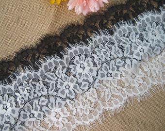 "3.3 Yards Lace Trim White Black Eyelash Trim Flower 5.11"" width"