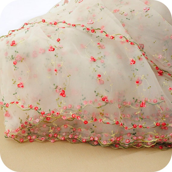 Lace fabric organza red rose embroidery flower wedding